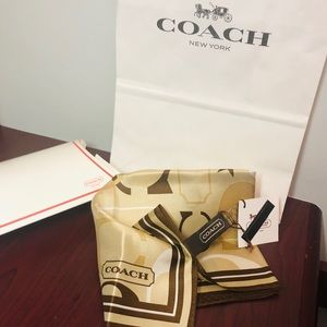 Brand new coach 100% silk scarf (tag, box, bag)